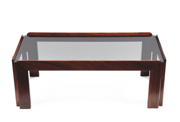 Rectangular Wood Smoked Glass Coffee Table By Tobia Afra Scarpa For Cassina 1960s For Sale At Pamono