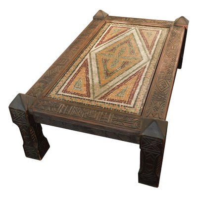 Vintage Moroccan Coffee Table With Mosaics And Hand Carved Decorative Wood For Sale At Pamono