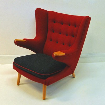 Scandinavian Red Wingback Armchair, 1950s 1