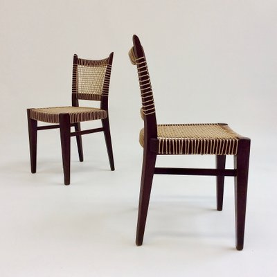 Mid Century French Straw And Wood Dining Chairs 1950s Set Of 2 Bei Pamono Kaufen