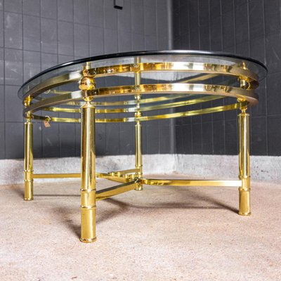 Midcentury Brass Coffee Table With Oval Shaped Glass Top 1970s Bei Pamono Kaufen