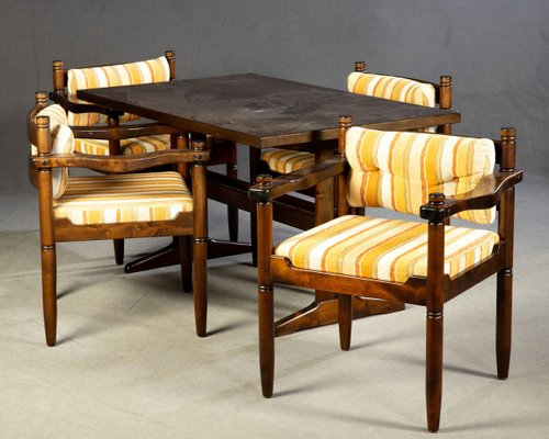 Scandinavian Style Solid Wood Dining Table Chairs Set 1960s Set Of 5 For Sale At Pamono