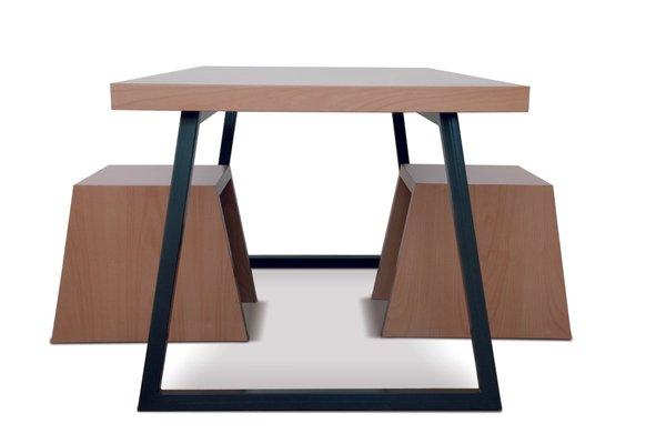Handmade Table With Metal Base By Maria Vidali For Sale At Pamono - Metal base picnic table