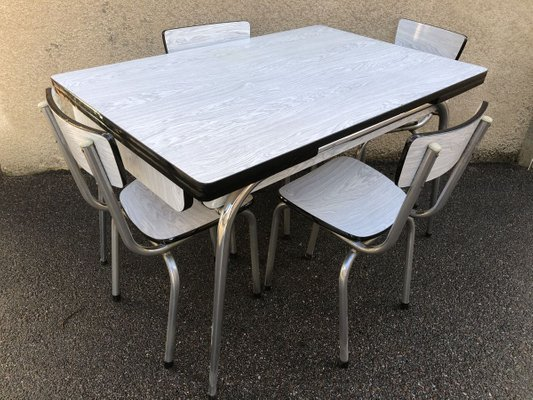 Mid Century Formica Dining Table Chairs Set 1950s Set Of 5 For Sale At Pamono