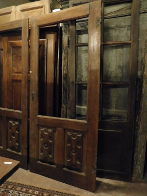 Antique Glass Wooden Door With Richly Carved Poplar Panel 1700s Italy For Sale At Pamono