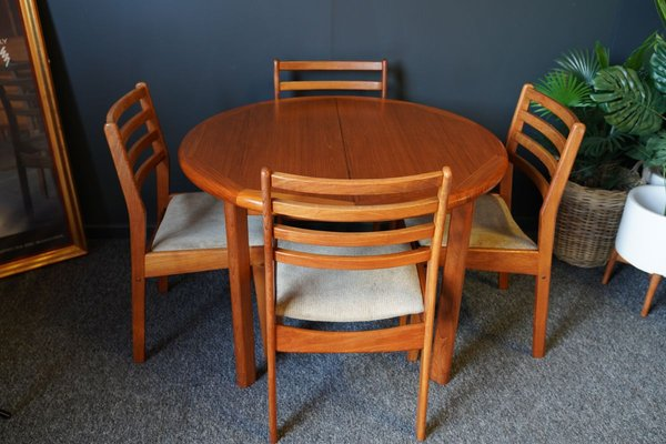 Mid Century Teak Dining Table Chairs By Lauritz M Larsen 1950s Set Of 5 For Sale At Pamono