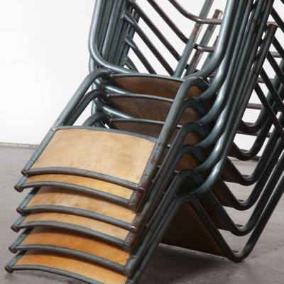 High Laboratory Stacking Dining Chairs Or Barstools From Mullca 1950s Set Of 24 Bei Pamono Kaufen