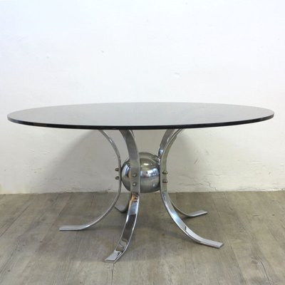 a86ef45f3ec8a Vintage Chrome   Smoked Glass Table