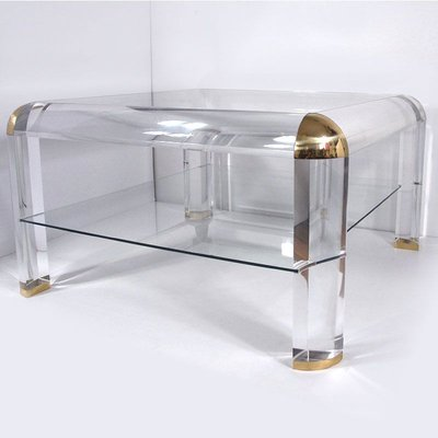 Lucite And Brass Coffee Table By Karl Springer 1970s For Sale At Pamono