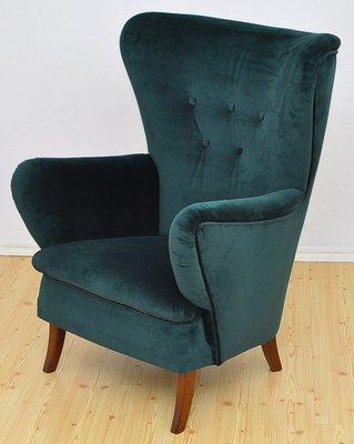 Velvet Wingback Armchair 1950s For, Velvet Wing Chair Cover