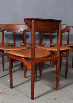 Rosewood And Cognac Aniline Leather Dining Chairs By Kurt østervig Set Of 6 For Sale At Pamono