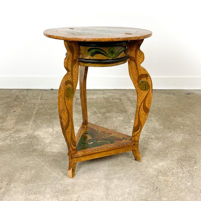 Small Round Painted Side Table With, Small Round Antique Side Table