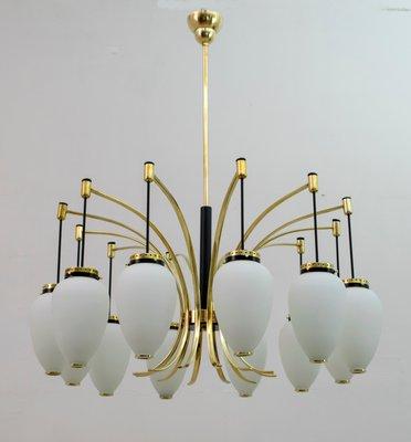 Opaline Glass 12 Light Chandelier, Mid Century Modern Brass Chandelier