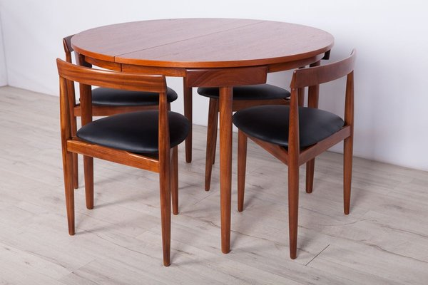 Mid Century Teak Dining Table 4 Chairs Set By Hans Olsen For Frem Rojle 1950s Bei Pamono Kaufen
