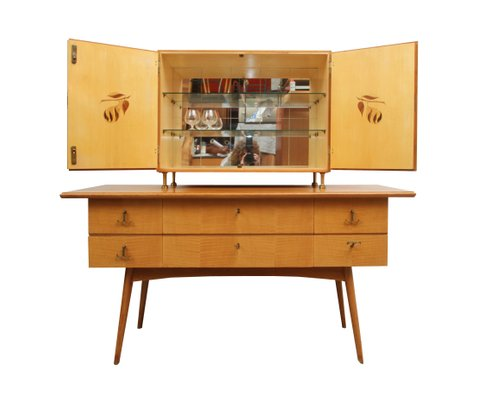 Cherry Wood Sideboard And Bar Cabinet 1950s 1