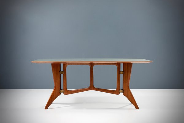 Sculptural Dining Table In Teak Brass And Glass Italy 1950 Bei Pamono Kaufen