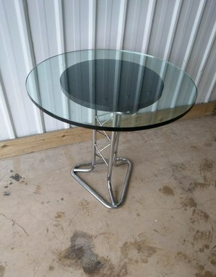 Mid Century Tubular Chrome And Pylon Glass Top Dining Table For Sale At Pamono