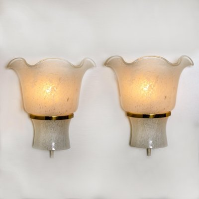 2 OF VINTAGE PORCELAIN AND GLASS WALL SCONCES 1960 VERY NICE CONDITION PAIR