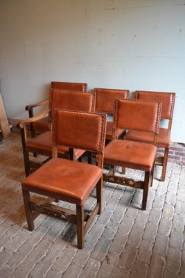 Antique Extendable Oak Dining Table With Six Leather Chairs For Sale At Pamono