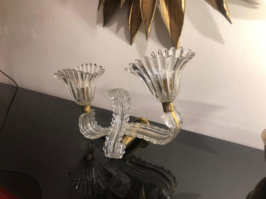 Italian Glass And Brass Double Light Wall Sconce In The Style Of Barovier 1940 For Sale At Pamono