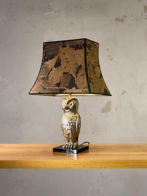 Silver Metsl Owl Table Lamp France, Owl Table Lamp
