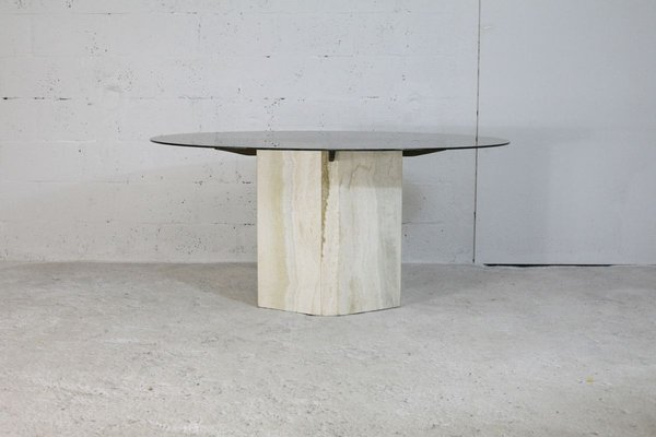 Dining Table With Stone Base And Smoked Glass Top 1970s Bei Pamono Kaufen