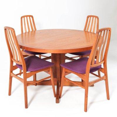 Teak Mid Century Modern Dining Table Chairs Set By Imha 1960s Set Of 7 Bei Pamono Kaufen