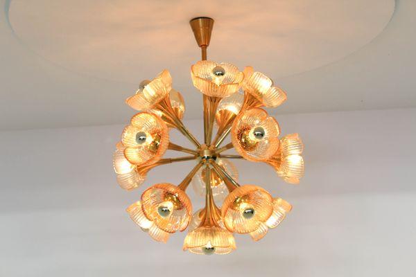 Kronleuchter Floral ~ Italienischer floraler midcentury murano glass kronleuchter