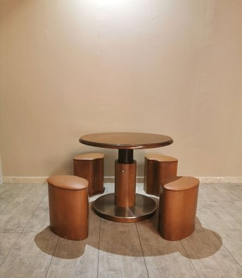 Motion Game Table With 4 Stools In Wood Veneer 1970s Set Of 5 For Sale At Pamono