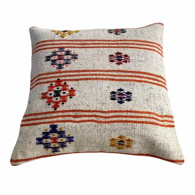 Old Fashioned White Pillowcase With Cross Stitch Embroidery