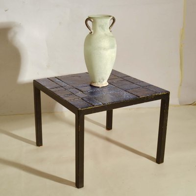 Italian Bright Blue Ceramic Tile Square Side Table On Black Metal Frame For At Pamono - Small Black Metal Rectangle Side Table