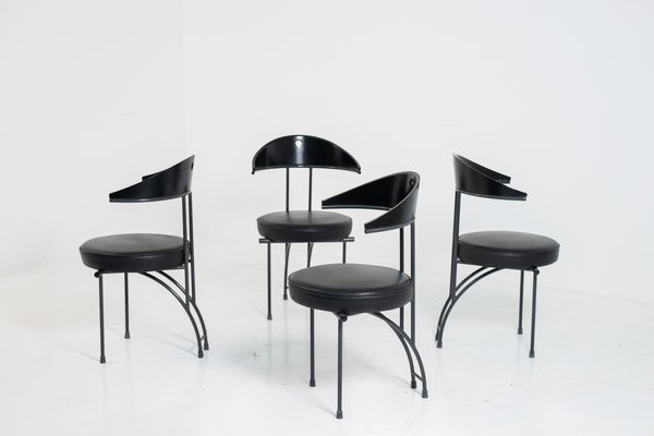Wood Dining Chairs By Philippe Starck, Black Wooden Dining Chairs Set Of 4