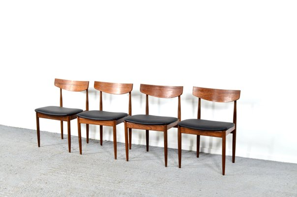 Teak Aniline Leather Dining Chairs By Ib Kofod Larsen For G Plan 1960s Set Of 4 For Sale At Pamono