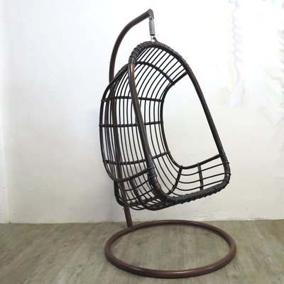 Vintage Rattan Bamboo Hanging Egg Chair For Sale At Pamono