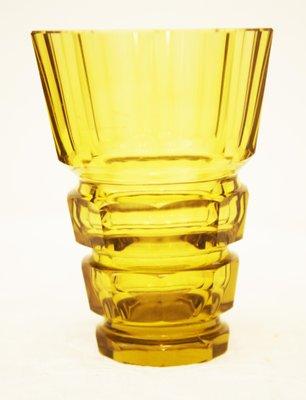 Yellow Art Deco Bohemian Crystal Glass Vase For Sale At Pamono
