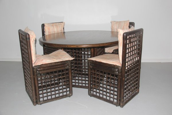 Rattan Dining Room Set By Tobia U0026 Afra Scarpa For Bu0026B Italia, 1970s, Set