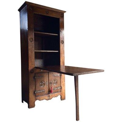 16th Century Dutch Solid Oak Cabinet Drop Down Table