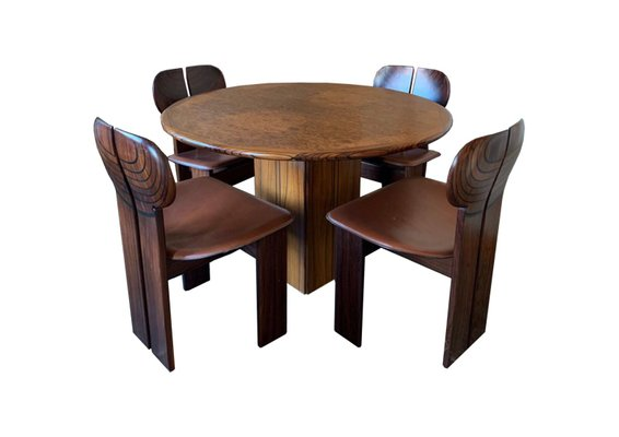 Leather Africa Dining Table Chairs, Round Table And Chairs Set
