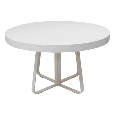 Ava White Round Extendable Dining Table, White Round Table