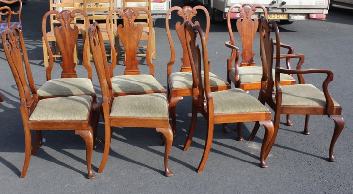 Queen Anne Style Mahogany Dining Chairs, Queen Anne Mahogany Dining Chairs