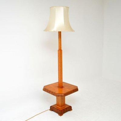 Art Deco Walnut Maple Floor Lamp With, Oak Floor Lamp With Shelves Uk