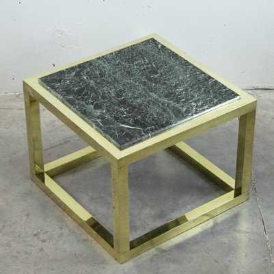 Vintage Spanish Brass And Green Veined Marble Coffee Table 1