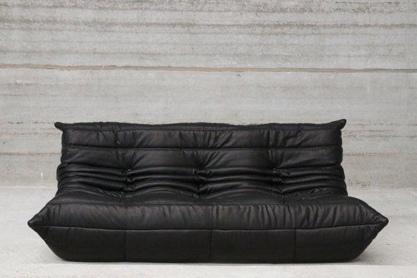 Vintage Black Leather Togo Lounge Set by Michel Ducaroy for Ligne Roset