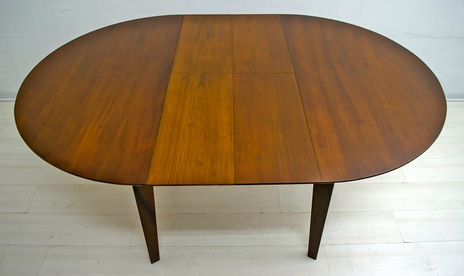 Italian Teak Dining Table And 6 Chairs, Round Extendable Dining Table Set With 6 Chairs