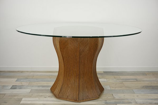 Vintage Italian Round Glass Rattan, Round Glass Dining Table With Pedestal Base