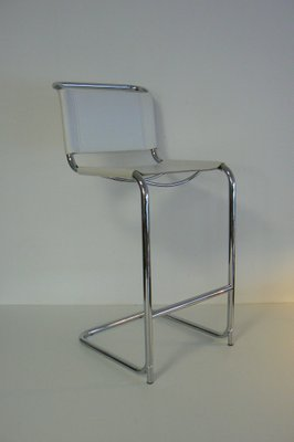 White Leather And Chrome Bar Stool 1