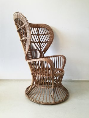 High Back Rattan Chair 1940s For Sale At Pamono