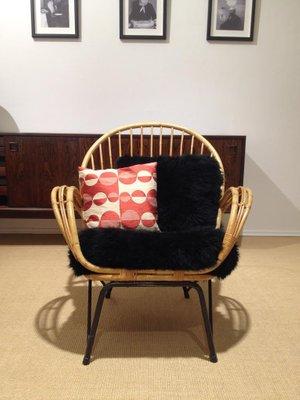 Danish Bamboo Chair With Black Sheepskin Cushions, 1950s 1