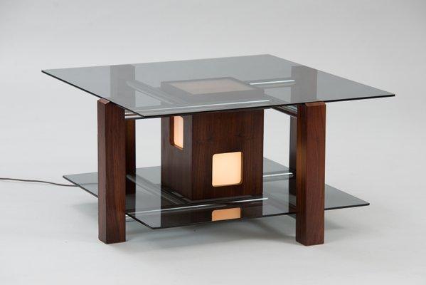 Vintage Table Eclairée En Basse PalissandreItalie hsrCQtdxB