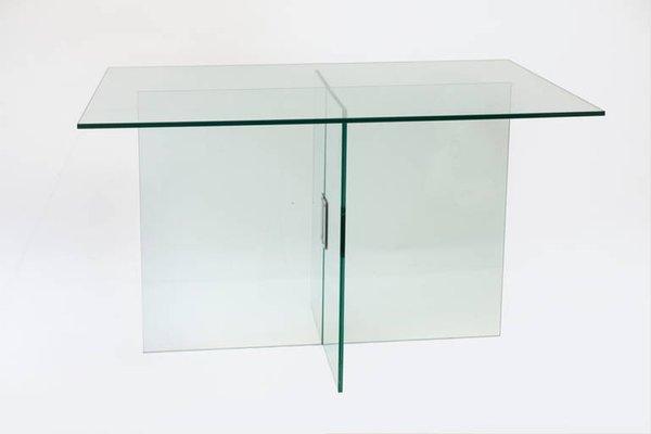 Italienischer Glas und Messing Esstisch von Fontana Arte, 1970er